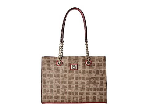 Lion Logo Chain Tote, Khaki/Brown/Ruby