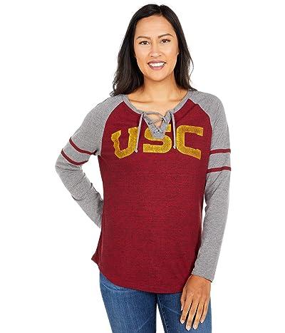 289c Apparel USC Trojans Patrisse Long Sleeve Tee (Cardinal/Heather Grey) Women