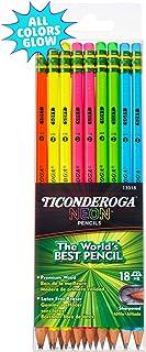 Ticonderoga Neon Pencils, #2 Pre-Sharpened Wood Pencils with Erasers, 18-Count, 13018