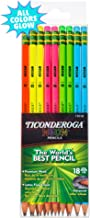 Ticonderoga Neon Pencils, #2 Pre-Sharpened Wood Pencils with Erasers, 18-Count, 13018