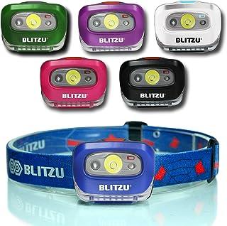Blitzu i2 Waterproof LED Headlamp with Red Light, Sapphire Blue