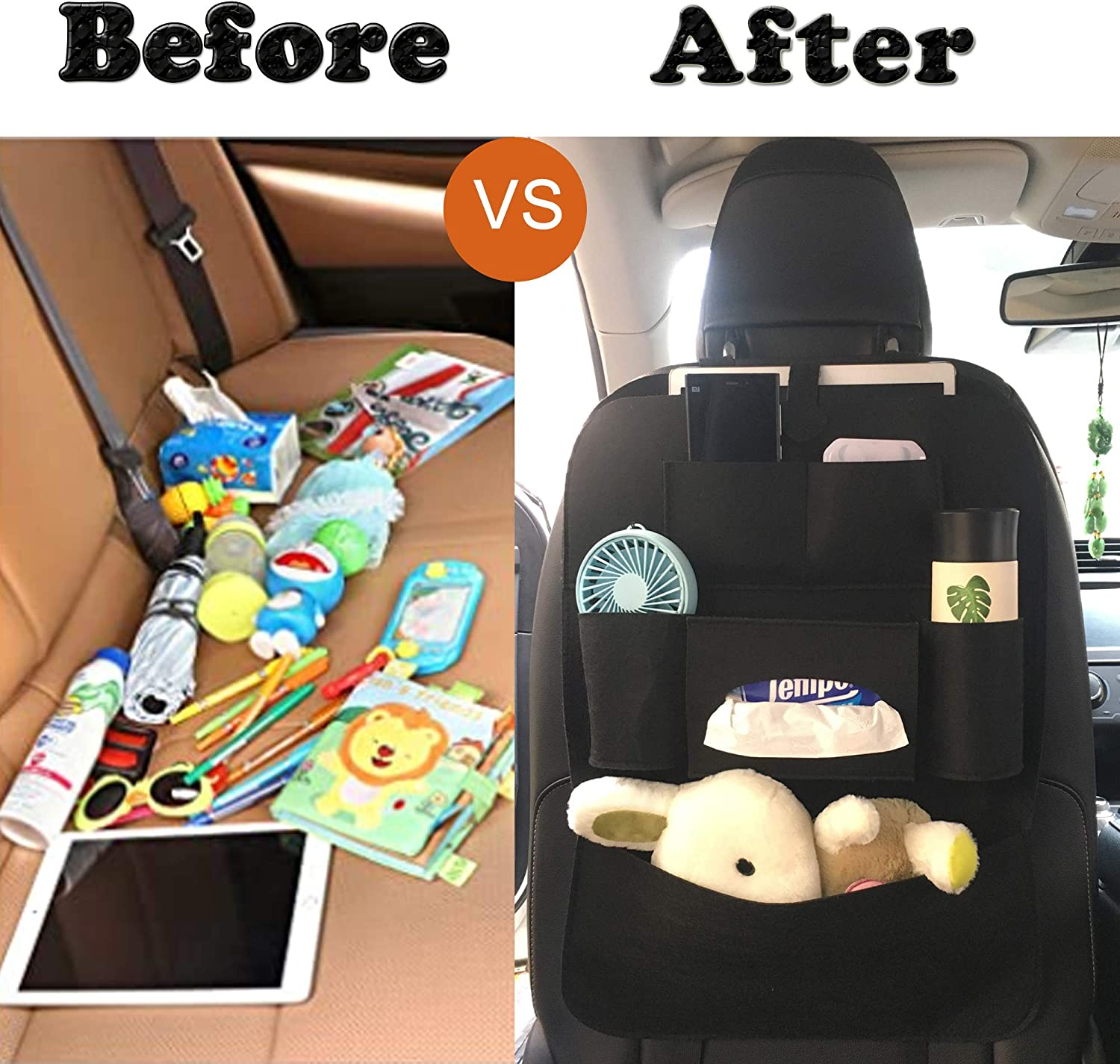 GREATEE Car Backseat Organizer and Storage 2PCS - Black Road Trip Essentials 6 Storage Pockets with Tissue Box Back Seat Protector Kick Mats for Kids