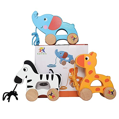 Wooden Pull Along Toy Set Of 3 Beautiful Giraffe Elephant Zebra