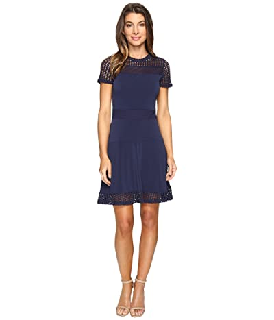 MICHAEL Michael Kors Mesh Combo Dress (True Navy) Women