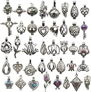Mixed Shape White Gold Plated Pearl Bead Cages Pendants for Jewelry Making/Aromatherapy Essential Oil Scent Diffuser Locket Pendant (10 Pcs Mixed No Duplicate)