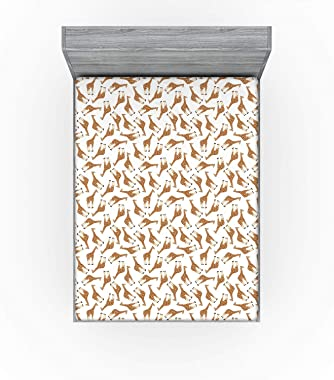 Lunarable Safari Fitted Sheet, Simplistic Illustration Giraffe Animal Upside Down Messy Arrangement, Bed Cover with All-Round