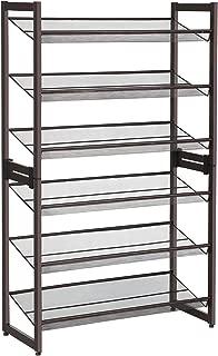 SONGMICS 6-Tier Shoe Rack, Set of 2 Stackable 3-Tier Shoe Organizer, Metal Mesh Shoe Shelf Storage for 18 to 24 Shoes, Adjustable Flat or Angled Shelves, Bronze ULMR03A-2