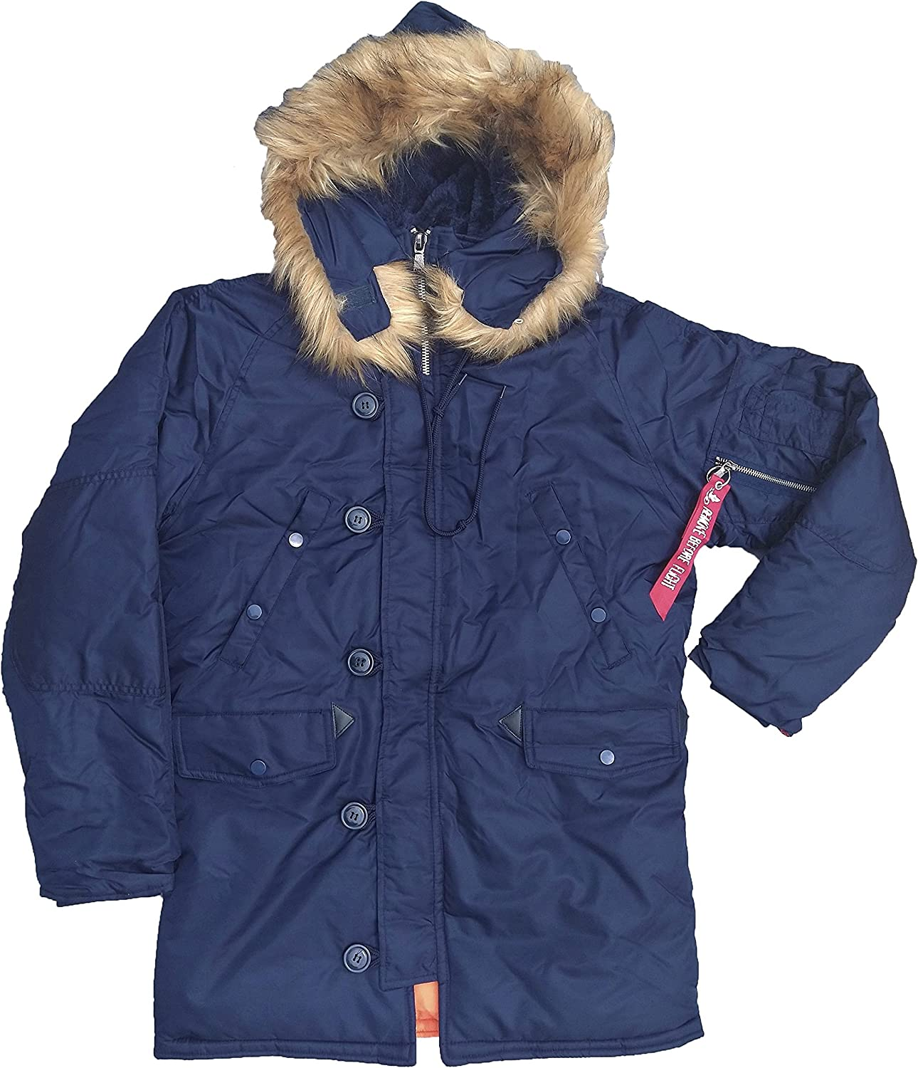 N3B Parka for extreme cold weather with fur hood and water resistant exterior shell