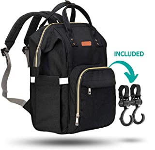 ZUZURO Diaper Bag Backpack - Waterproof w/Large Capacity & Multiple Pockets for Organization. Ideal for Travel Nappy Bags - W/Insulated Bottle Pocket. 2 Stroller Hooks Incl. (BABY-BAG-BLACK)