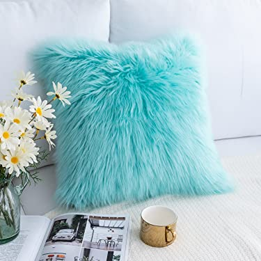 Foindtower Mongolian Plush Faux Fur Square Decorative Throw Pillow Cover Sheepskin Cushion Case Merino Style for Livingroom Couch Sofa Nursery Bedroom Home Decor 20x20 Inch (50x50cm) Turquoise