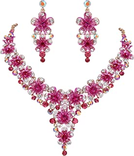 Clearine Women's Wedding Bridal Crystal Multi Hibiscus Flower Statement Necklace Dangle Earrings Set