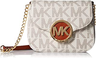 Fulton Vanilla PVC MK Signature Small Crossbody Bag 32T4GFTC1B NEW