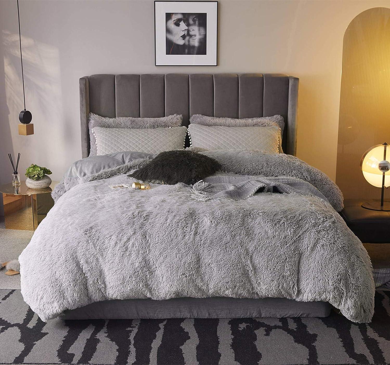 BedChoice Grey King Wholesale 3PC Plush Shaggy Seattle Mall Duvet Luxury Cover Set Ultr