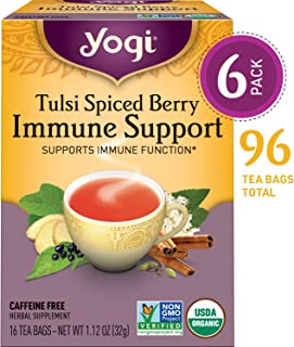 Yogi Tea - Tulsi Spiced Berry Immune Support - Supports Immune Function - 6 Pack, 96 Tea Bags Total