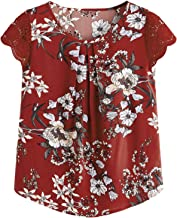 Milumia Women's Boho Flower Print Pleated Cap Sleeve Work Blouse Top
