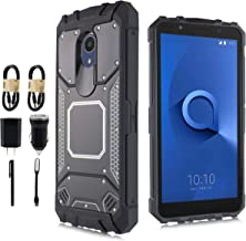 Compatible for Alcatel TCL LX (A502DL) Case, Alcatel IdealXtra Case, Alcatel 1X Evolve, 6goodeals, Shockproof Armor Aluminum Metal Rugged Cover, Composite Case [Accessory Bundle] (Black)