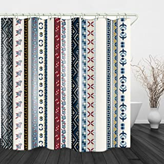 JINYAO Ethnic Stripes Print Waterproof Fabric Shower Curtain for Bathroom Home Decor..