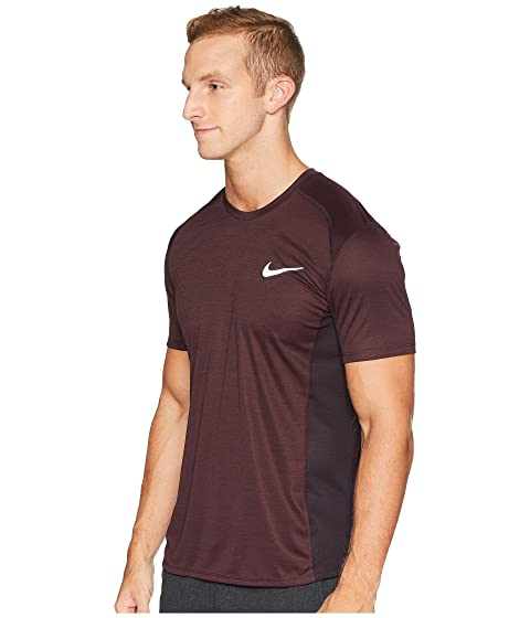 finest selection 089c8 70f3f Nike Dry Miler Short Sleeve Running Top, Burgundy Ash Heather