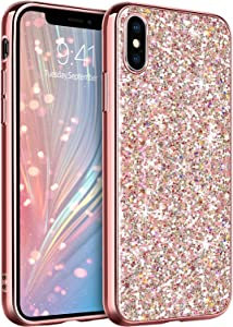 GUAGUA Compatible with iPhone Xs/X Case 5.8 Inch Glitter Sparkle Bling Shiny Phone Cases for Girls Women Slim Fit Durable Hybrid Shockproof Protective Cover for iPhone Xs/X Rose Gold