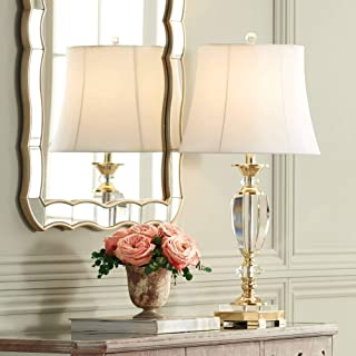 Traditional Table Lamp Faceted Crystal and Brass Bell Fabric Shade for Living Room Family Bedroom Bedside - Vienna Full Spectrum
