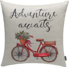 TRENDIN 18x18 Vintage Red Bike Bicycle with Flowers Ride Cotton Linen Cushion Cover Throw Pillow Case Sofa Decorative (PL049TR)