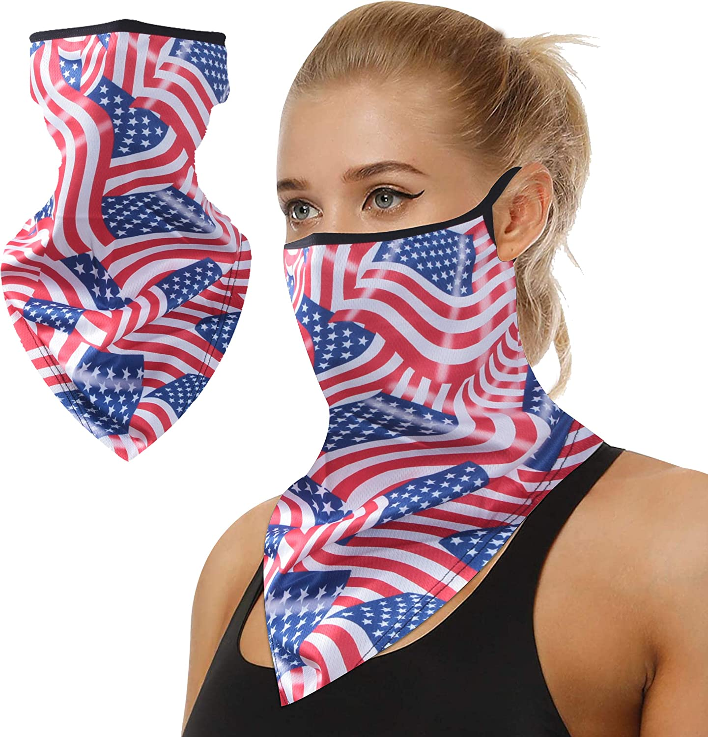 Bun Large Summer Neck Gaiter with Ear Loops, US Flag Face Mask 50+ UV Protection Neck Gaiter Sunproof Scarf for Fishing Hunting Kayaking Hiking Cycling Sports Outdoors 1 Pack, Red Blue Flag
