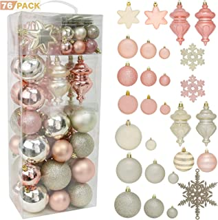 RN'D Christmas Snowflake Ball Ornaments - Christmas Hanging Snowflake and Ball Ornament Assortment Set with Hooks (Yellow & Rose Gold)