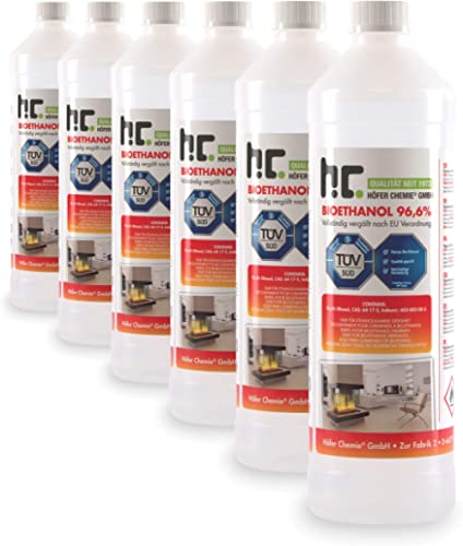 Höfer Chemie 6 x 1 l (6 litres) Bioéthanol 96,6 % Premium - QUALITÉ certifiée par TÜV SÜD - pour cheminée à éthanol, ...