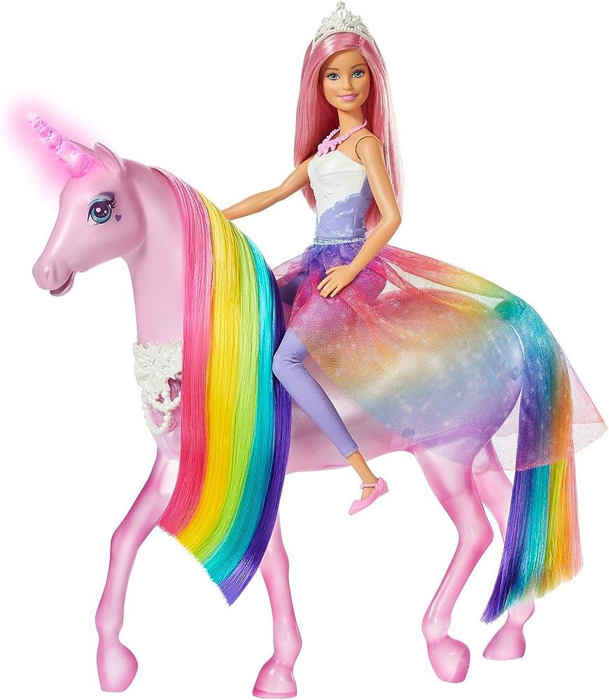 Barbie,dreamtopia playset con bambola e unicorno grande che si illumina con chioma da pettinare FXT26