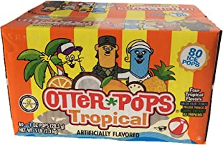 Otter Pops, 1Count of 80 Ice Pops, Four Tropical Flavors (Anita Fruit Punch, Major Mango, Cosmic Coconut, DJ Tropicool)