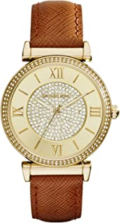 Michael Kors Catlin Women's Silver Crystal Pave Dial Leather Band Watch - MK2377