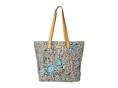 Vera Bradley Front Pocket Straw Tote (Mint Brown Sea Life) Tote Handbags