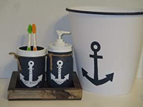 Nautical Bathroom soap and toothbrush holder set with tray and trash can