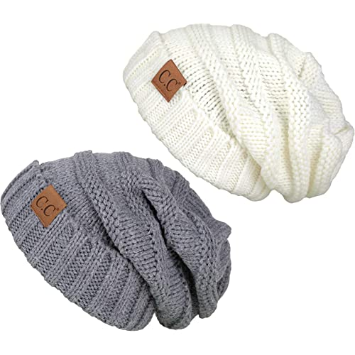 2bb7fd7a6f5 FunkyJunque Trendy Warm Oversized Chunky Soft Oversized Cable Knit Slouchy  Beanie