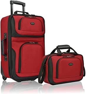 U.S. Traveler Rio Rugged Fabric Expandable Carry-On Luggage Set, Red, 2-Piece