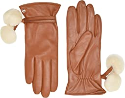 Sheepskin Pom and Leather Tech Gloves