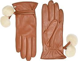 Sheepskin Pom and Leather Tech Gloves