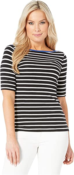 Petite Stretch Cotton Boat Neck Top