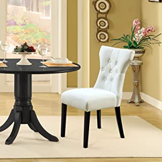 Modway Silhouette Modern Tufted Faux Leather Upholstered Parsons Kitchen and Dining Room Chair in White