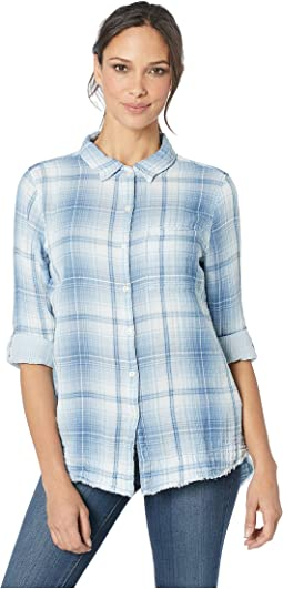 Indigo Double Weaves Long Sleeve Shirt in Ashton Plaid