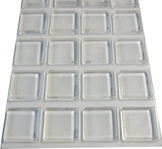 Rubber Bumpers Self Adhesive Large - 20 Pack - Rubber Pads for Cutting Board Feet - 1 Inch Square Clear Rubber Bumper Pads