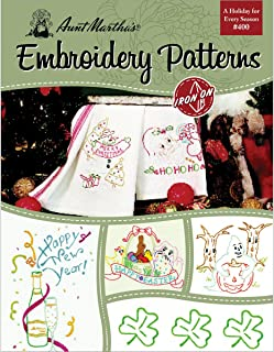 Aunt Martha's 405 A Holiday for Every Season Embroidery Transfer Pattern Book, Over 25 Iron On Patterns