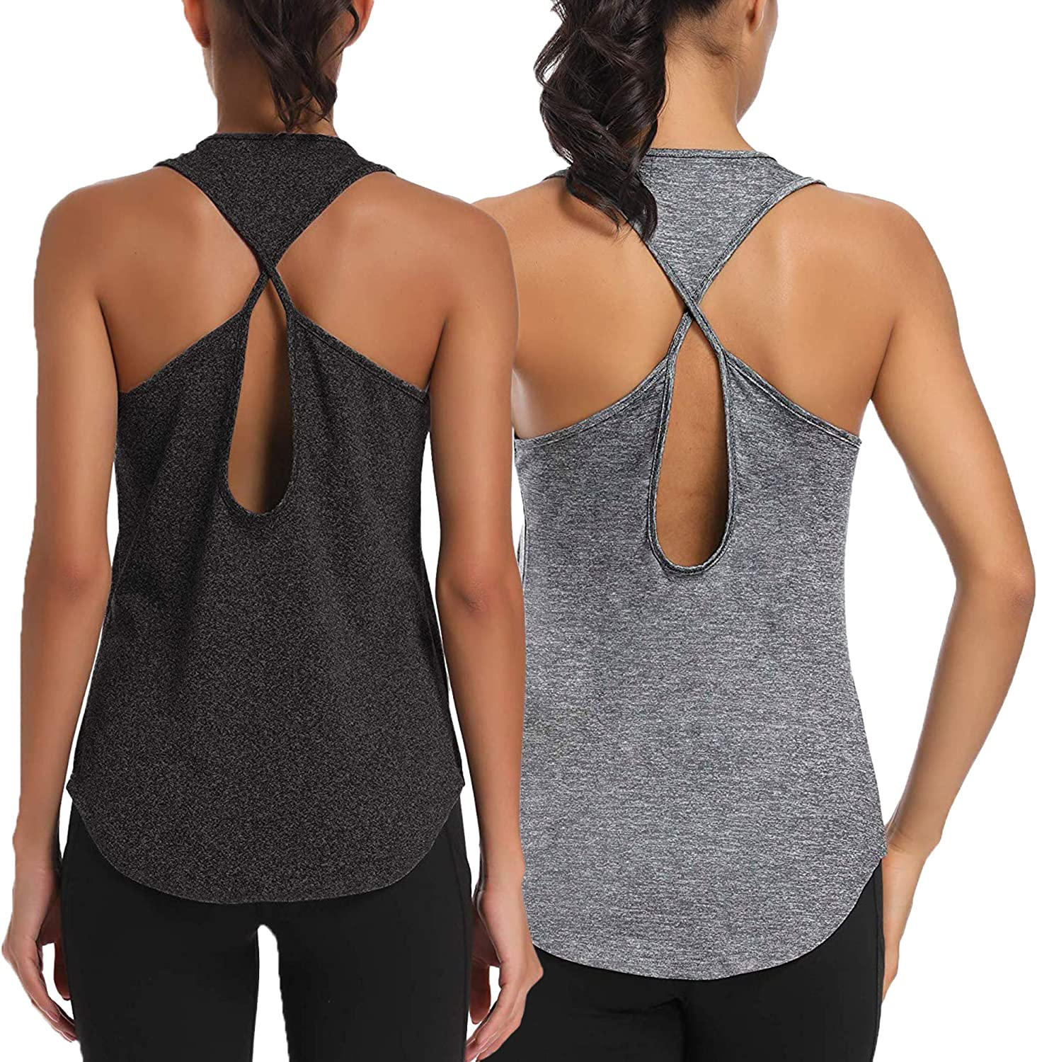 Bestshe Womens 2-Pack Workout Tops Backless Yoga Shirts Gym Running Muscle Tank Tops