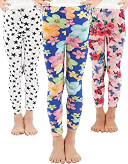 Girls Toddler Leggings Pants 3 Pack Stretchy Printing Flower Classic Leggings for Kids
