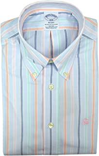 Brooks Brothers Mens Regent Fit 102234 All Cotton The Original Polo Button Down Shirt Blue White Multicolored Striped