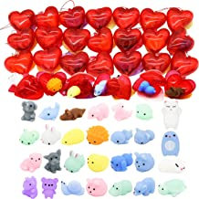 28 Packs Kids Valentine Mochi Squishy Set Includes 28 Mochi Squishies Filled Hearts and Valentine Cards for Kids Valentine Classroom Exchange Party Favors, Kawaii Stress Relief Toys for Valentine Gift Exchange, Game Prizes and Carnivals Gift