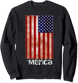 Merica American Flag - Tattered Flag Sweatshirt