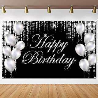 Silver Happy Birthday Banner Backdrop Large Happy Birthday Yard Sign backgroud It's My Birthday Backdrop Baby Shower Party...