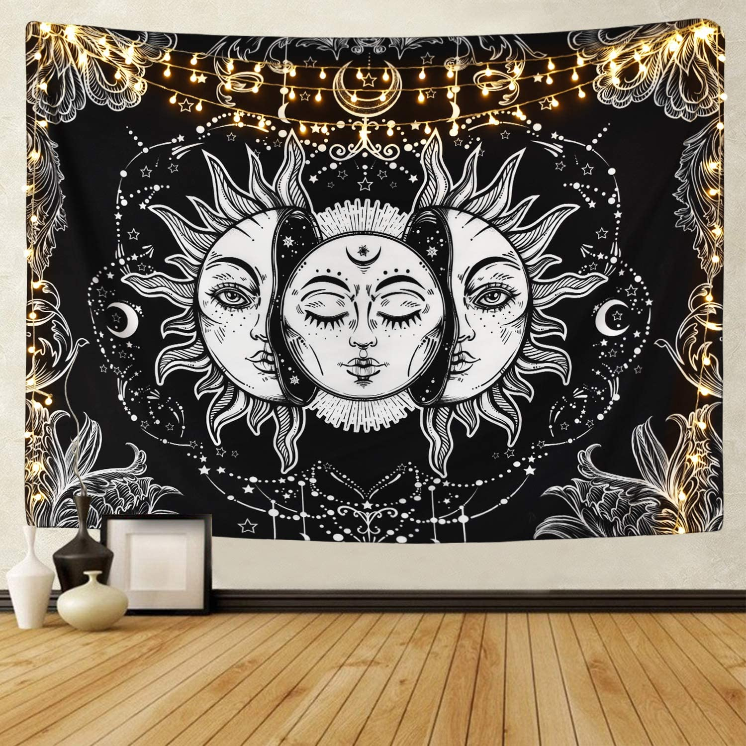 Sun and Moon Tapestry Burning Sun with Star Tapestry Psychedelic Tapestry Black and White Hippie Tapestry Wall Hanging for Home Bedroom (51.2 x 59.1 inches)