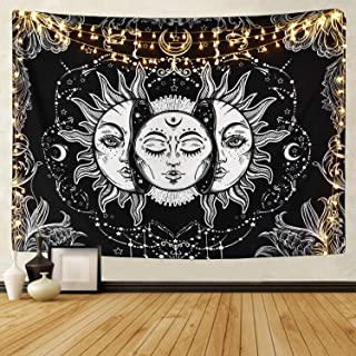 Likiyol Sun and Moon Tapestry Burning Sun with Star Tapestry Psychedelic Tapestry Black..